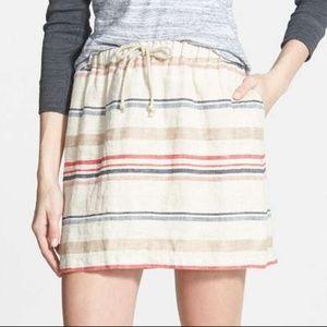 Nordstrom hinge 'Alabama' Linen Stripe Skirt